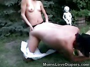 Slim mommy wears her big strapon to bang her adultbaby