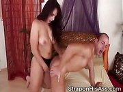 Busty brunette babe fucks her boyfriends up the ass