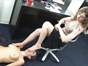 Human Footstool and Foot Worship - Veronica Avluv and