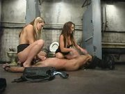 Harmony Rose and Penny Flame team up on slave boy