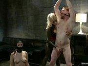 Brown nosing slaveboy gets cuckolded by two women!