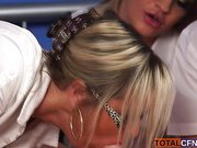 Horny girls blowing a lucky guy.