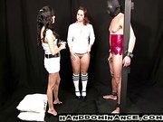 Hot Amy watches while Lea performs handjob