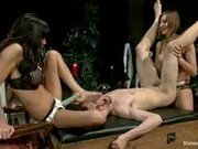 Footslave is made to worship, sniff and clean two hot