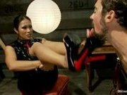 Seductive dominatrix frustrates, teases and denies slaveboy