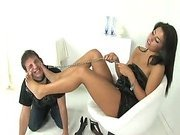 Hot footdom mistresse uses her slave