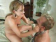 Wicked floozy Gwen Diamond terrorizes slave boy's ass