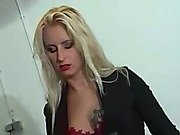 The blonde mistress operates two male ponies