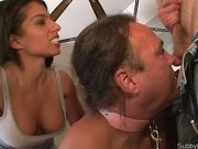 Submissive husband licked balls