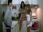Kitchen foot slave with two dommes