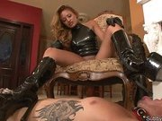 Latex Mistress trampled a cuck