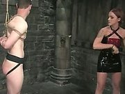 Sarah Faye fucks slave up the ass and tortures him