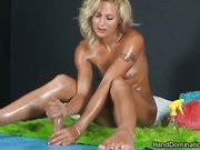 Blonde teen makes hot handjob & footjob