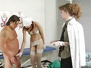 Slave got medical handjob in femdom clinic