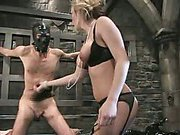 Mistress Harmony Rose whips and fucks her bound slave