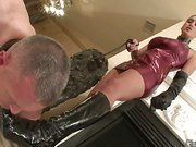 Submissive lad licking boots