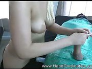 Hot handjob from beautiful blonde teen