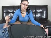 Hot brunette gives pain handjob