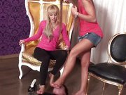 Glamour teens trample their slave