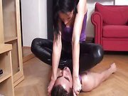 Home femdom humiliation with hot brunette