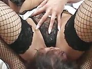 Babe in nylons sat on slave's face