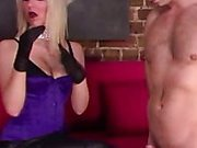 Handgloves loving domina and her slave