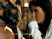 Great brunette mistress tortures slave