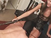 Brunette uses slave for pussy licking