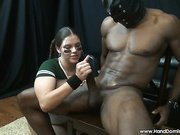 Brutal babe stokes big black cock