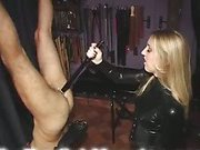 Tied slave was fucked by dildo