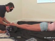 Blindfolded slave is asslicker