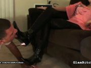 Clamour brunette forced slave to clean her shoes
