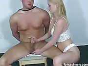 Hot blonde strokes man's cock