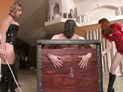 Two mistress spank their slave
