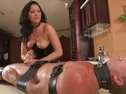 Brunette gives humiliation handjob