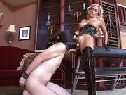 Strapon facesitting with blonde mistress