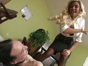 Blonde mistress punishes her slave