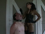 Hot mistress uses slave like an ashtray