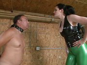 Brunette mistress humiliates her slave