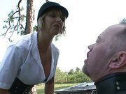 Angry mistress trains her bad slave