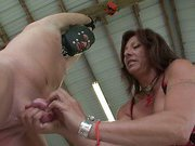 Mistress gives humiliation handjob