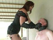 Mistress slapping her slave