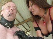 Mistress tortures her tied slave
