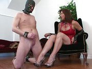 Home mistress uses slave for shoe worship