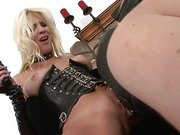 Blonde uses her slave for fun