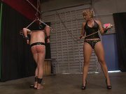 Slave was spanked by blonde chick