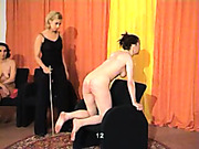 Three brunet bitches practicing hardcore caning