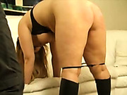 Perverted dude caned his bitch