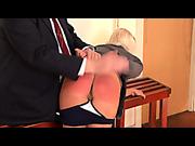 Embarrassed blond schoolgirl was spanked by teacher