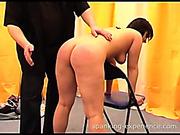 Round ass brunette had ass spanked with hand